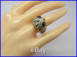 Vintage 14k Solid Gold Brown Star Sapphire & Diamond Ladies or Men's Owl Ring
