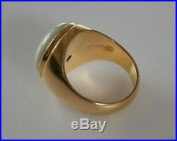 Vintage 14k Solid Gold Jadeite Men's Ring Fine, Hallmarked 12g