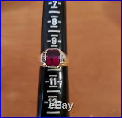 Vintage 14k Solid Gold Ruby And Diamonds Men's Ring Sz 10 Signed ARS