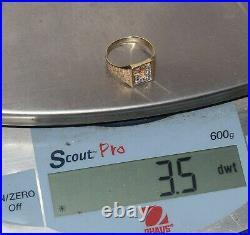 Vintage 14k Solid Yellow Gold Diamond J Letter Signet Mens Ring Size 10 Estate
