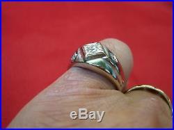 Vintage 14k White Gold 1/4 Ctw Men's Diamond Ring Stylish Setting