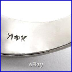 Vintage 14k White Gold Diamond Solitaire Mens Unisex Pinky Ring