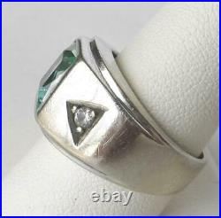 Vintage 14k Wht Gold Vari-Gem Art Deco Mens Color Change Aquamarine Spinel Ring
