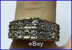Vintage 14k Yellow Gold 1.6ct Unique Diamond Pinky Ring Mens Ladies Unisex Sz 6
