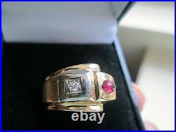 Vintage 14k Yellow Gold Diamond Ruby Band Ring Men, Women
