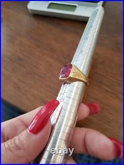 Vintage 14k Yellow Gold & Garnet Size 7.5 Men's Pinky Ring, 12.5 grams