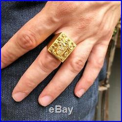 Vintage 14k Yellow Gold Mens Crest Signet Ring Handmade Large Statement Piece