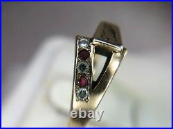 Vintage 14k Yellow Gold Miller Beer Round Diamond Ruby Mens Ring Size 10