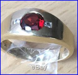 Vintage 14k Yellow Gold Red Garnet & Diamonds Gypsy Style Ring Heavy Men / Woman