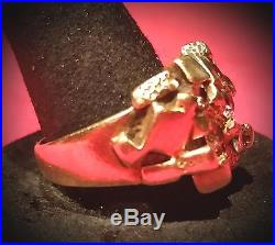 Vintage 14kt GOLD Mens Nugget DIAMOND Ring with Real Diamonds Sz 8 1/2