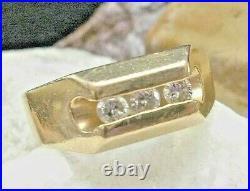 Vintage 14kt Yellow Gold Diamond Men's Wedding Ring Size 12 -9.4 grams 14k