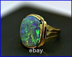 Vintage 15Ct Australian Lightning Ridge Brilliant Black Opal Mens Ring 18K Gold