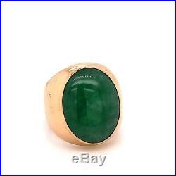 Vintage 17K Yellow Gold 10 Ct Natural Green Jade Mens Signet Ring 8.6 Grams