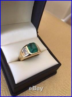 Vintage 18K Emerald Diamond Mens Ring Wm. Ruser Beverly Hills Superb
