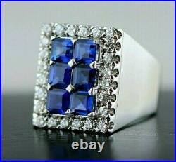 Vintage 18K Gold 3.84CT French Art Deco Sapphire VS/F Diamonds Men's Ring -Sz7.5