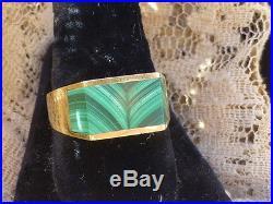 Vintage 18K Malachite Men's Ring Size 10.75 Heavy 13.5 grams