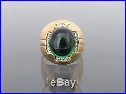 Vintage 18K Solid Gold Emerald Cabochon & White Topaz Heavy Men's Ring Sz 10.5