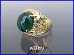 Vintage 18K Solid Yellow Gold Emerald Cabochon White Topaz Men's Ring Size 9.5