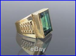 Vintage 18K Solid Yellow Gold Emerald Men's Ring Size 8