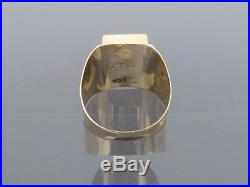 Vintage 18K Solid Yellow Gold Emerald Men's Ring Size 9