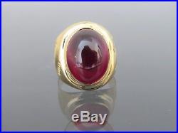 Vintage 18K Solid Yellow Gold Garnet Cabochon Men's Ring Size 10.5
