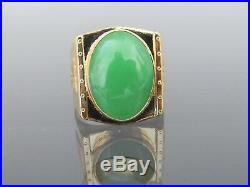 Vintage 18K Solid Yellow Gold Oval Green Jadeite Jade Men's Ring Size 9