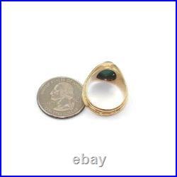 Vintage 18K Yellow Gold Malachite Men's Ring Size 8.5