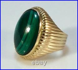 Vintage 18k Gold Malachite Mens Ring Stunning 17.8 Grams Sz 9.5