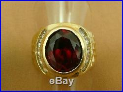 Vintage 1950s 10K YG Bezel Set GARNET and Simulated Diamond Mens Ring- Size 8