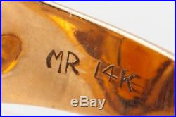 Vintage 1960s $3400 10ct Natural Madeira Citrine 14k Yellow Gold Mens Ring Band