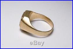 Vintage 1960s Era 14K Yellow Gold & Black Onyx Men's Fashion Statement Ring Sz 8
