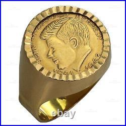 Vintage 1960s JOHN F. KENNEDY 18k Yellow Gold Signet Ring