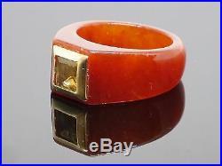 Vintage 1970s Brown Jadeite Jade Men's Ring with 0.5CT Citrine, Size 7, 5.8g