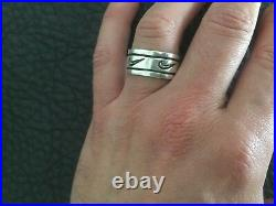 Vintage 1980's Rare Sterling Silver Nike Swoosh Engraved Mens Sport Ring Sz. 10.5