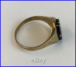 Vintage 1988 9ct Gold Mens Onyx Signet Ring Size P