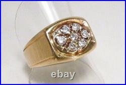 Vintage 1990s IBG I. B. Goodman USA 14K Gold 7 Diamond 0.7 ctw Men's Ring Sz 10