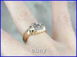 Vintage 1.61 Ct Aquamarine Men's Modernist Statement Ring 14K Yellow Gold Over