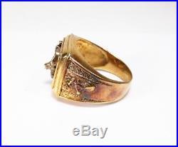 Vintage 2000s BGE Bradford Exchange Sterling Silver Deer Hunter Mens Ring Sz 13