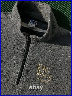 Vintage 2001 Lord Of The Rings Rare Cast & Crew Half Zip Fleece Sweater Large