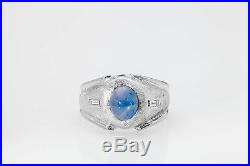 Vintage 3ct Natural NO HEAT Blue Star Sapphire Diamond 14k White Gold Mens Ring