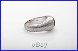 Vintage $4000 3ct Old Cut Almendrine Garnet 14k White Gold Mens Ring Band 16g