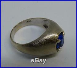 Vintage 60's MCM 14K Brushed White Gold Men's Ring 6.5 Grams Blue Sapphire Sz 9