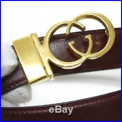 Vintage 80's gucci men's reversible belt with GG ring buckle wine red/black 110