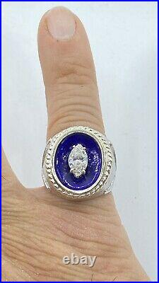 Vintage. 83 ct marquise DIAMOND mens solitaire pinky ring 18k white GOLD (VIDEO)