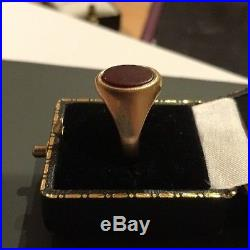Vintage 9ct 9k Yellow Gold Carnelian Mens Gents Signet Ring Size Q