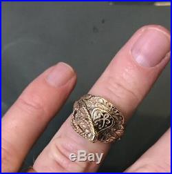 Vintage 9ct Gold Men's/Women's Small Saddle Ring Size N Weight 7.7g Stamped