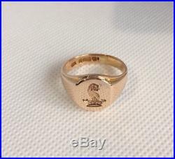 Vintage 9ct Gold Mens Heraldic/Armorial Intaglio Seal Signet Ring