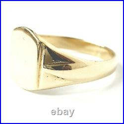 Vintage 9ct Gold Signet Ring Plain Solid Mens Yellow Gold Size U Hallmarked