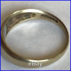 Vintage 9ct Yellow Gold Men's 3 Stone Diamond & Opal Gypsy Ring Size M1/2