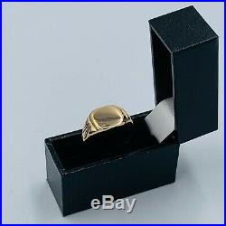 Vintage 9ct Yellow Gold Mens Signet Ring sz T #798